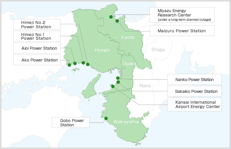 Kansai Electric Power's Thermal Power Stations