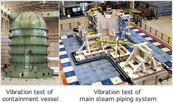 Vibration test of containment vessel / Vibration test of main steam piping system